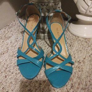 NWOT Talbots Turquoise Snakeprint Strappy Heels